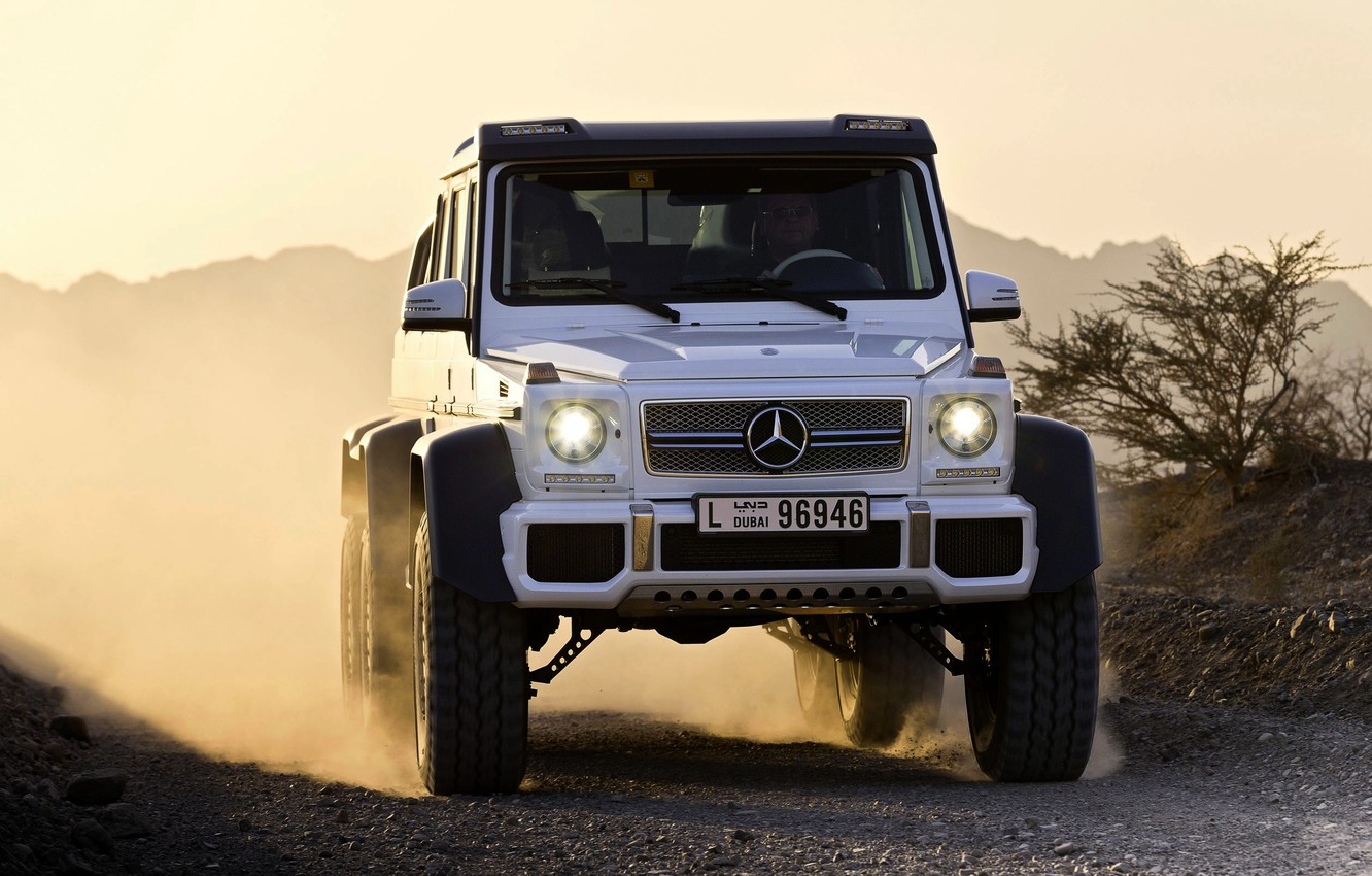 Photo wallpaper Mercedes-Benz, White, Mercedes, Logo, AMG, the front, SUV, G63, 6x6