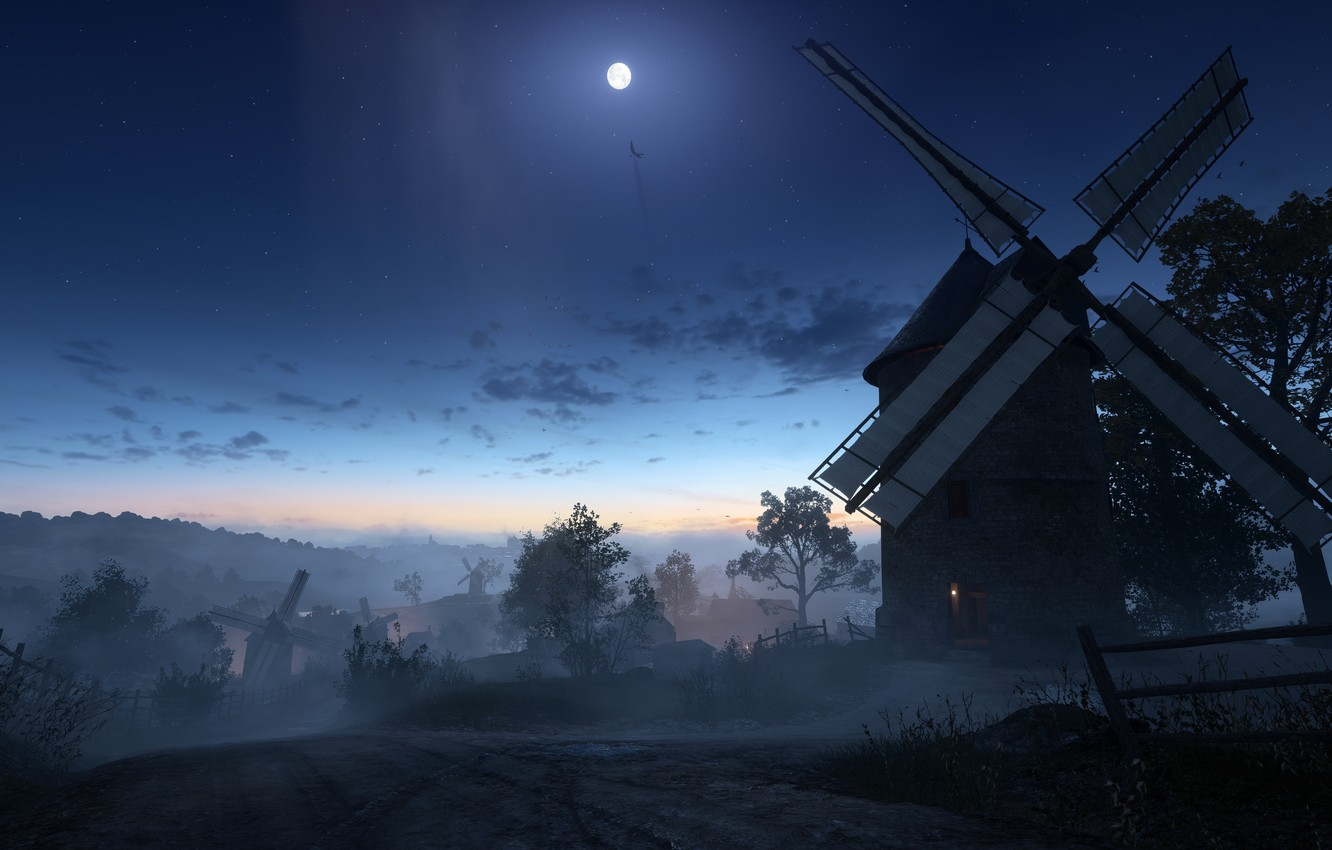 Photo wallpaper night, war, the moon, the game, mill, Electronic Arts, Battlefield 1