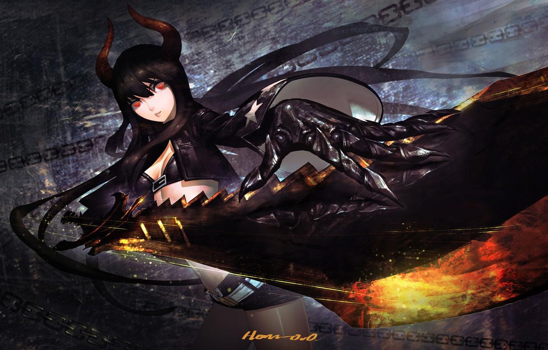 Photo wallpaper girl, weapons, sword, anime, art, horns, chain, black rock shooter, insane black rock shooter, black …