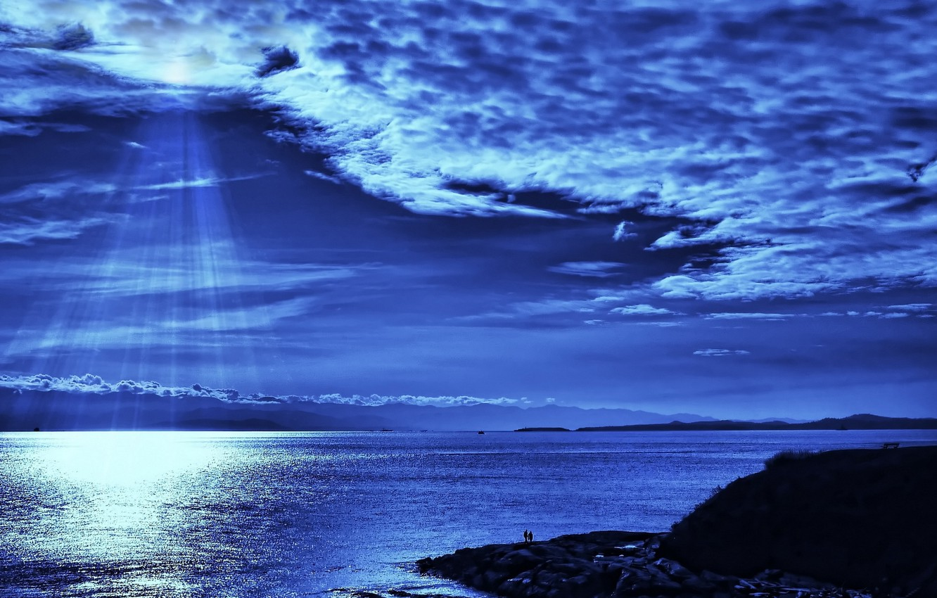 Photo wallpaper sea, the sky, water, clouds, rays, landscape, night, nature, reflection, river, people, shore, Shine, people, …
