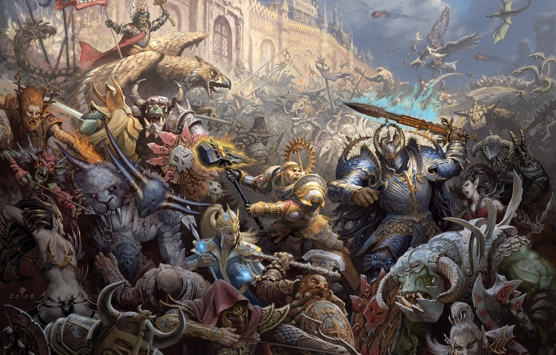 Photo wallpaper castle, war, magic, elves, battle, Warhammer, chaos, warriors, storm, orcs, Empire, dwarves, mages, siege, griffins, …