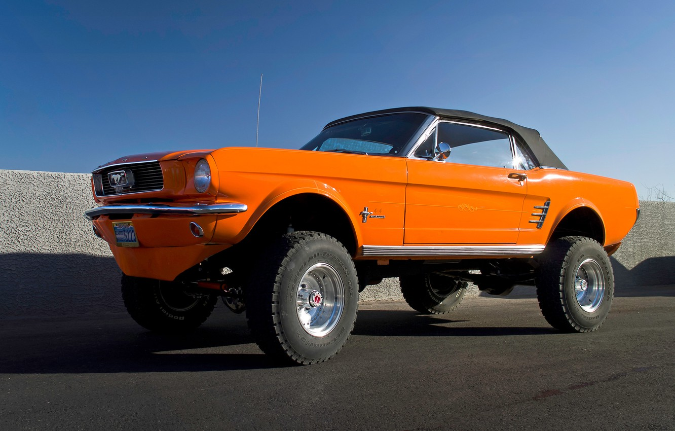 Photo wallpaper Mustang, Ford, muscle car, the front, wheel