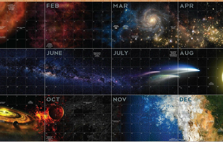 Photo wallpaper stars, nebula, the universe, the milky way, calendar