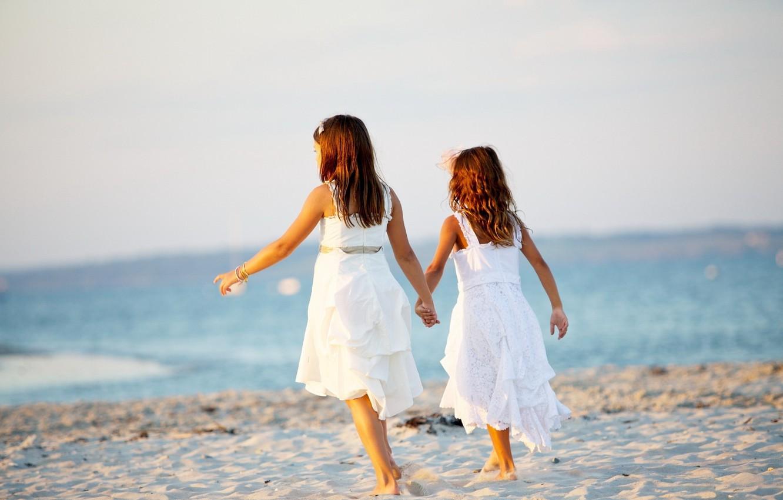 Photo wallpaper sand, sea, beach, summer, children, background, widescreen, Wallpaper, mood, girls, dress, girl, wallpaper, sisters, widescreen, …