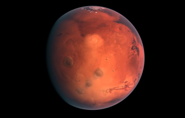 Photo wallpaper planet, Mars, red, black background