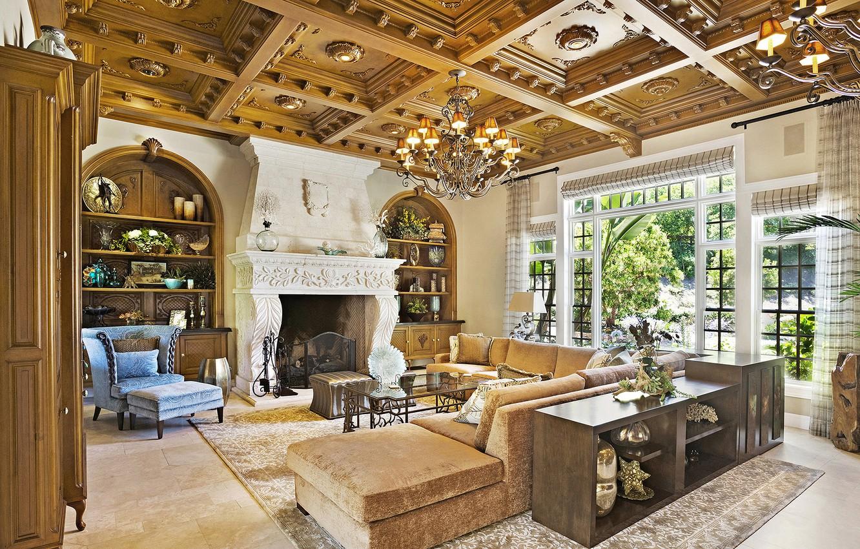 Photo wallpaper living room, home, villa, luxury