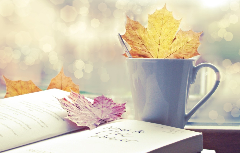 Photo wallpaper autumn, leaves, Cup, book, autumn, bokeh