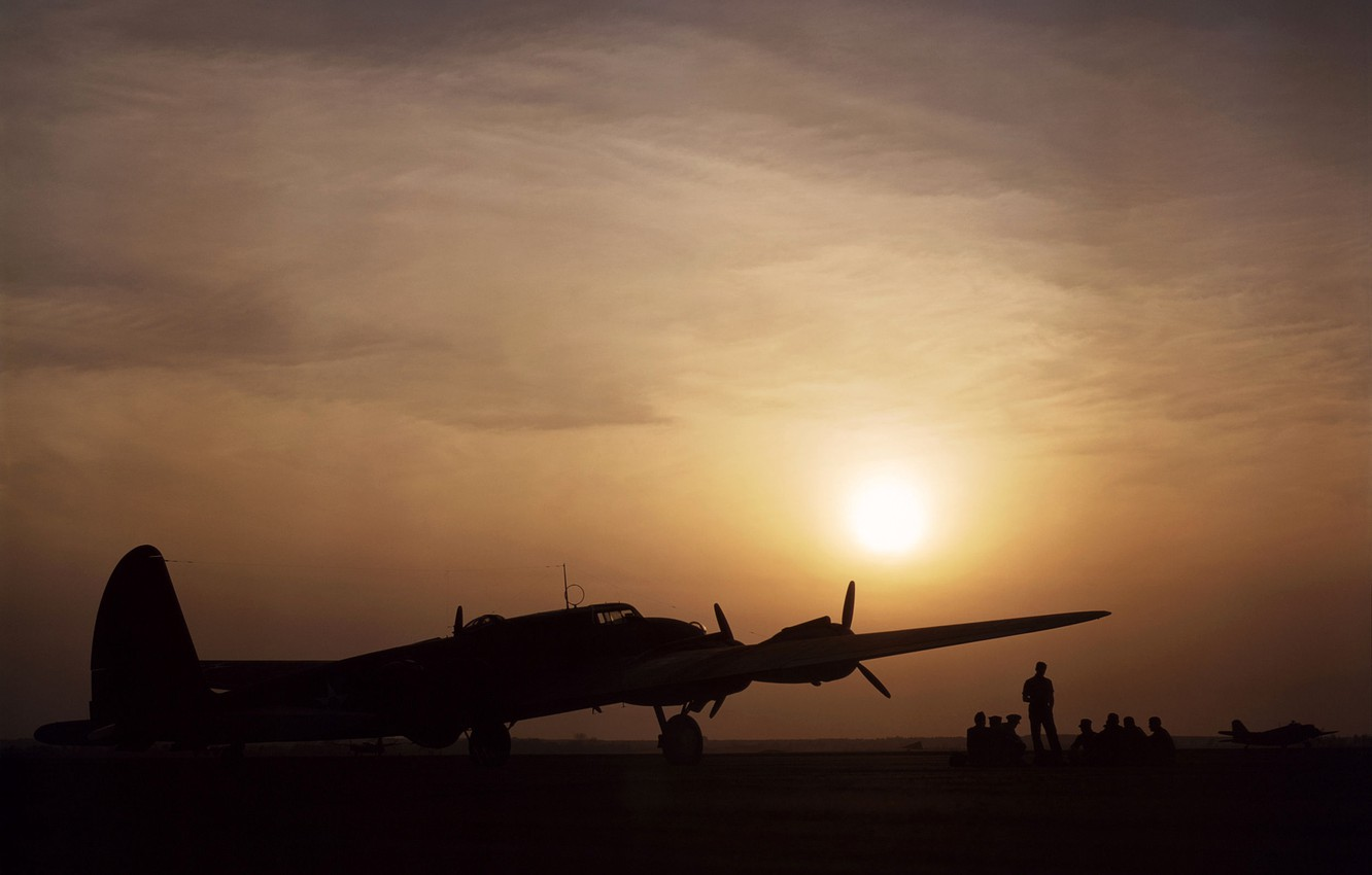 Wallpaper The Sky Sunset Bomber The Airfield Pilots B 17