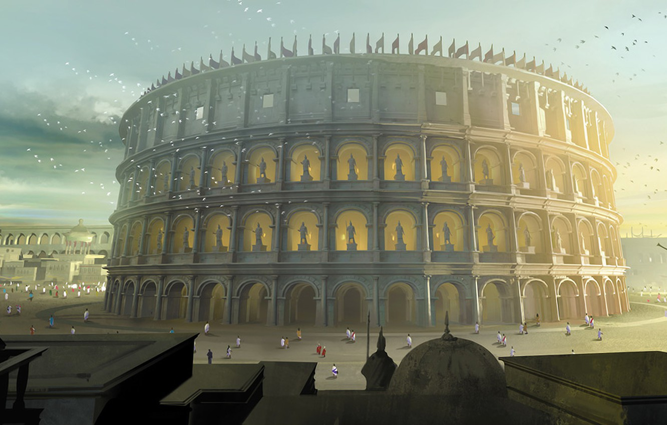 Wallpaper Art Colosseum Painting Ancient Images For