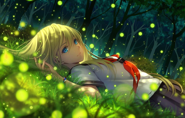 Photo wallpaper girl, trees, nature, smile, fireflies, anime, art, schoolgirl, tidsean