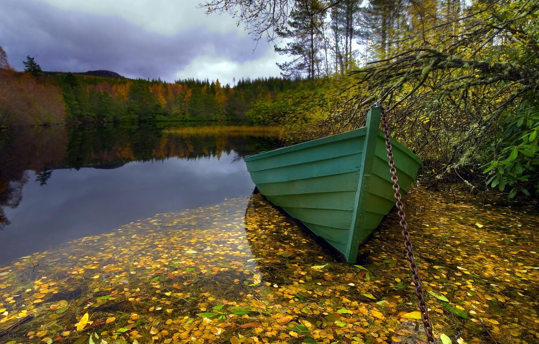 Photo wallpaper landscape, lake, boat