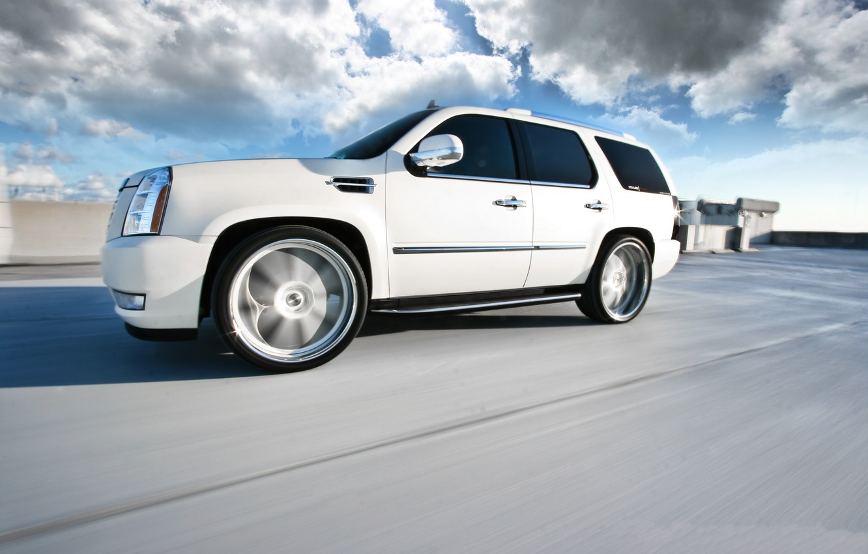 Photo wallpaper roof, white, speed, blur, white, wheels, Cadillac, cadillac, speed, escalade, the Escalade