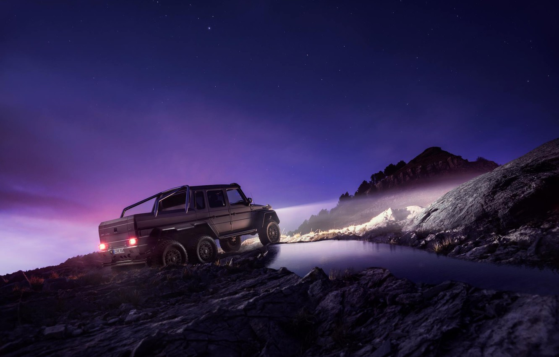 Photo wallpaper Mercedes-Benz, Sky, AMG, G63, 6x6, Rear, Ligth, Nigth, Off-Road