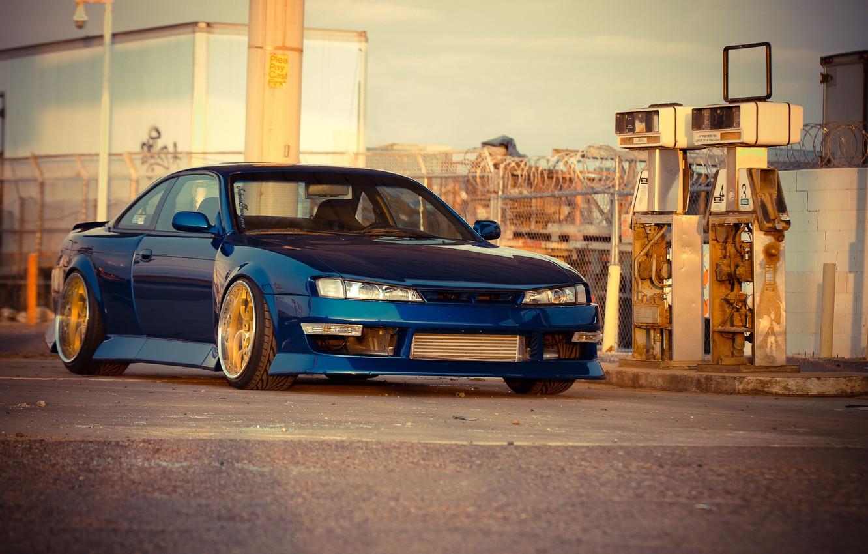 Photo wallpaper Silvia, Nissan, blue, Nissan, blue, Sylvia, S14, the gas station