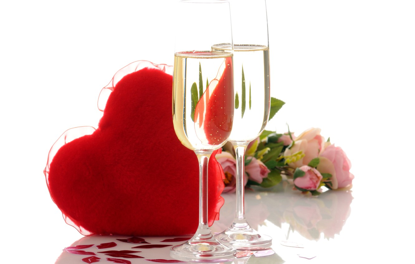 Photo wallpaper photo, Heart, Glasses, Roses, Food, Valentine's day, Different, Champagne