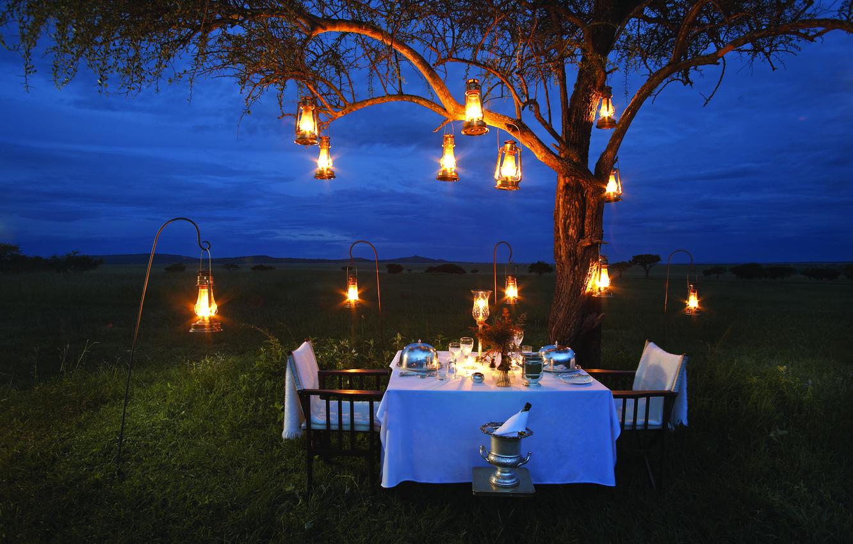 Photo wallpaper lamp, romance, the evening, Savannah, Africa, champagne, romantic, dinner, bush, dinner
