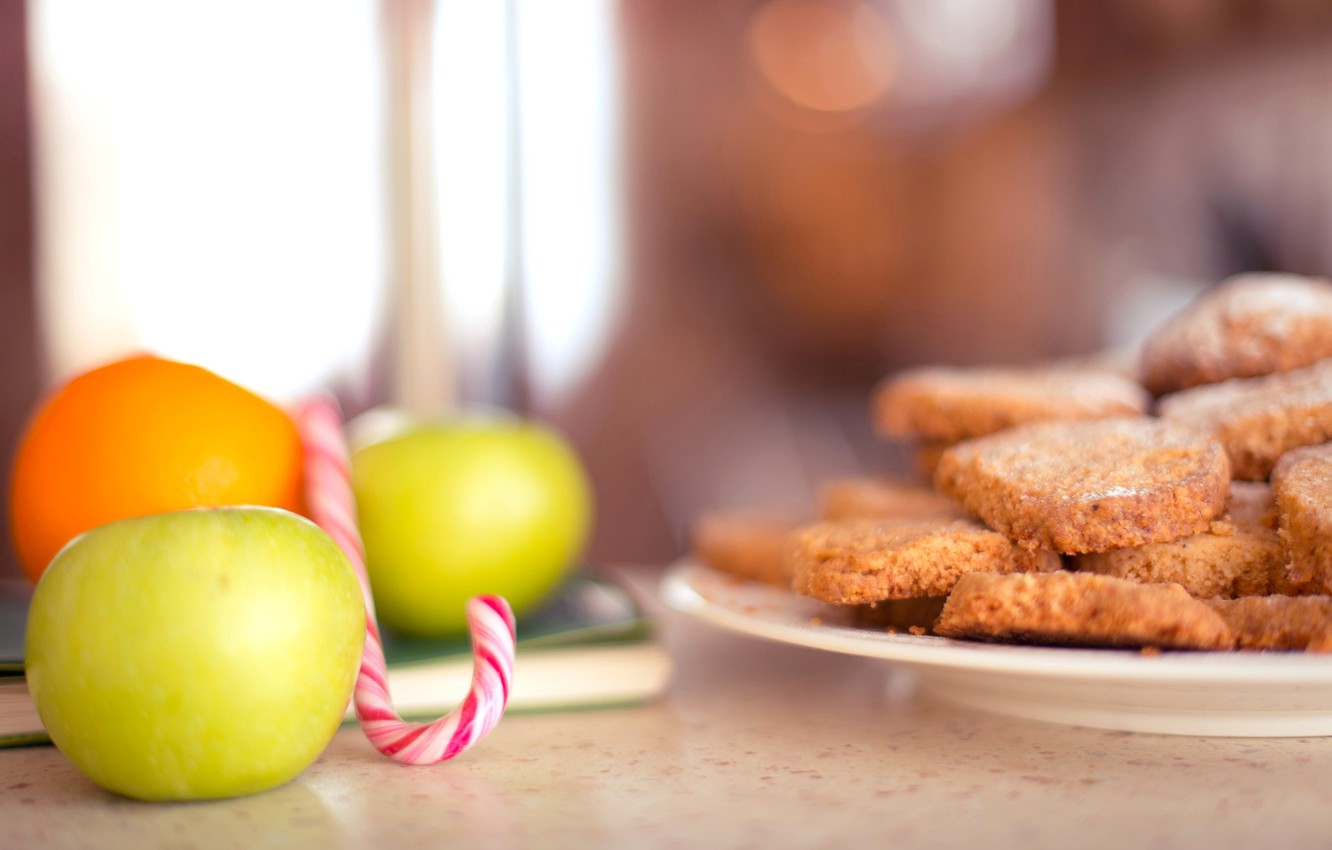 Photo wallpaper apples, food, cookies, candy, lollipops, fruit, cakes