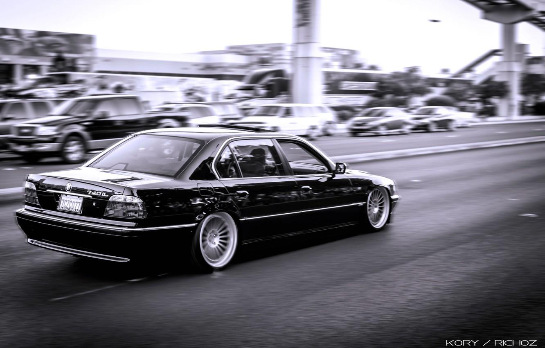 Photo wallpaper bmw, BMW, speed, black, Boomer, e38, bimmer