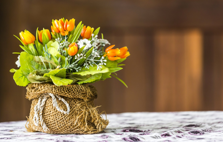 Photo wallpaper Flowers, Tulips, artificial flowers, Bouquets