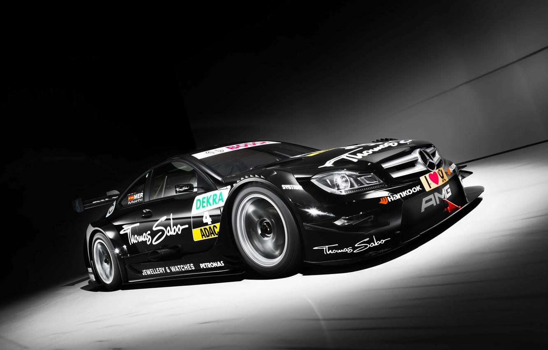 Photo wallpaper Black, Sport, Machine, Mercedes, Mercedes, AMG, DTM, The front, C-Coupe