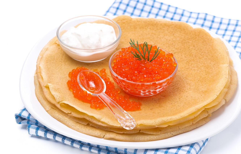 Photo wallpaper pancakes, caviar, red caviar, sour cream