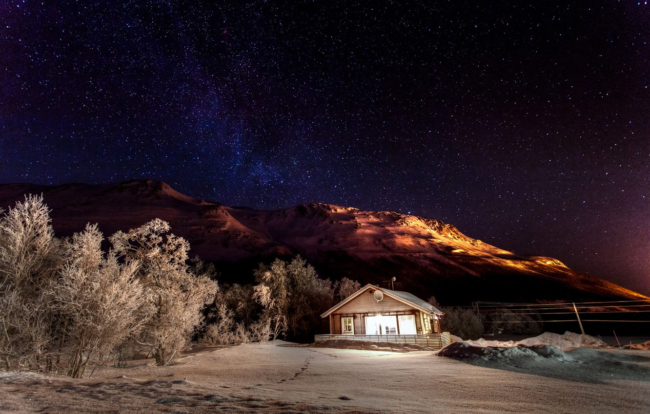 Photo wallpaper winter, the sky, stars, light, snow, trees, mountains, night, nature, house, stars, house