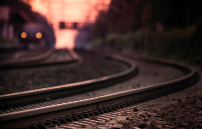Photo wallpaper macro, the way, lights, photo, rails, train, the evening, blur, railroad, sleepers, bokeh