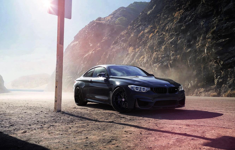 Photo wallpaper BMW, Car, Front, Black, Sun, Wheels, F82, HRE, Grigio, Medio