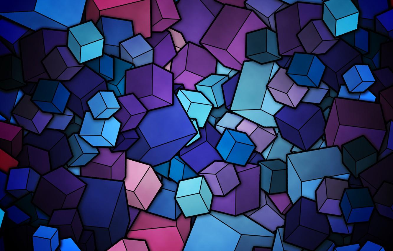 Photo wallpaper color, cubes, vector, figure