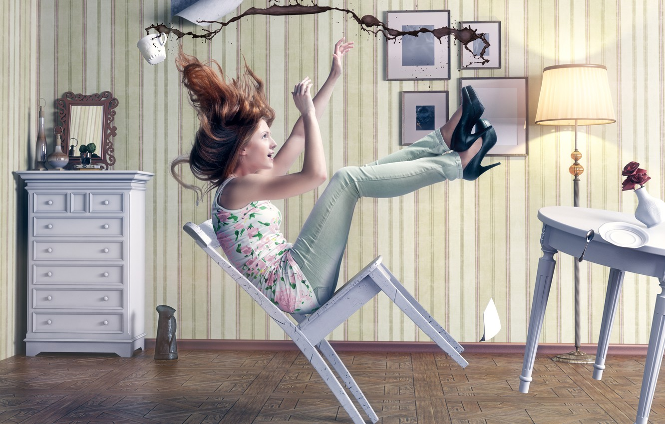 Photo wallpaper girl, room, coffee, the situation, chair, Cup, falls