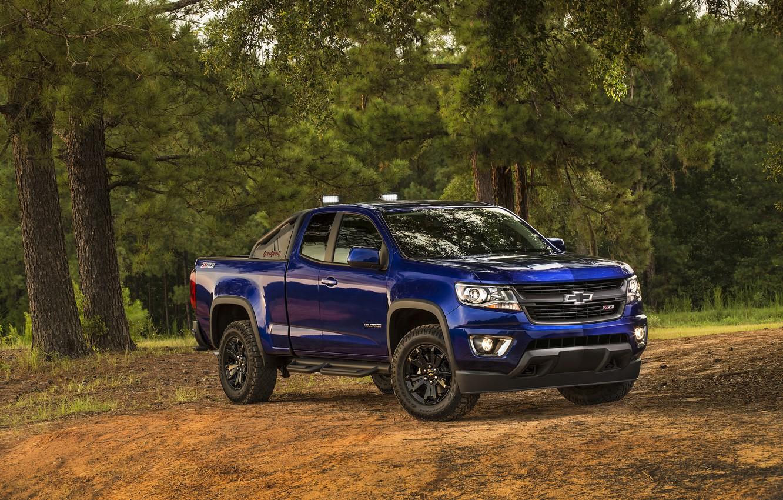 Photo wallpaper blue, Chevrolet, jeep, Chevrolet, Colorado, pickup, Colorado, Z71, Extended Cab, 2015, Trail Boss