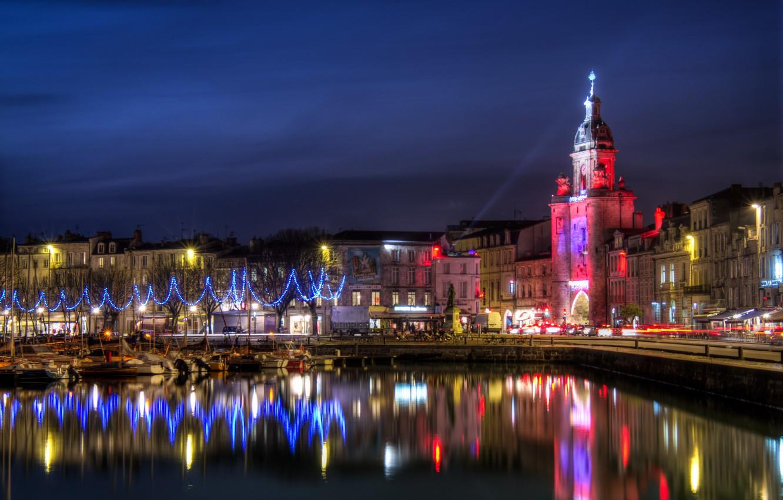 Photo wallpaper night, the city, river, photo, France, home, La Rochelle
