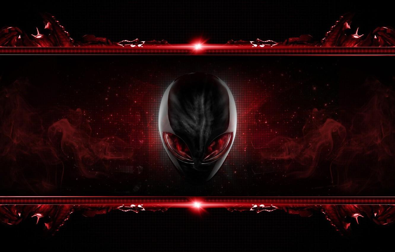 Photo wallpaper eyes, red, head, brand, alienware, inoplanetyanin