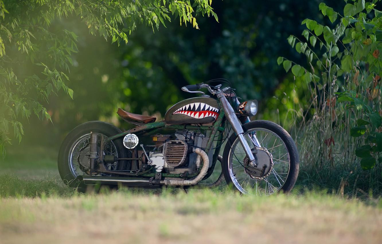 Photo wallpaper blur, base, motorcycle, steampunk, airbrushing, moto, bike, style, collection, custom, bokeh, steampunk, heavy, Soviet, rat, …