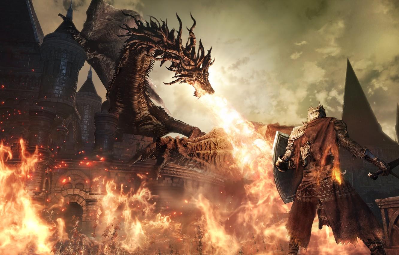Photo wallpaper flame, dragon, the game, fire, flame, game, RPG, Dark Souls III