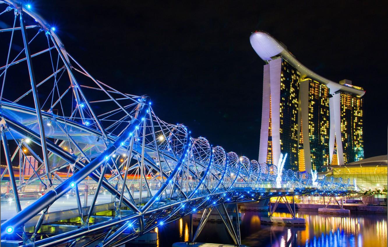 Photo wallpaper night, the city, Singapore, the hotel, casino, Singapore, bridge.
