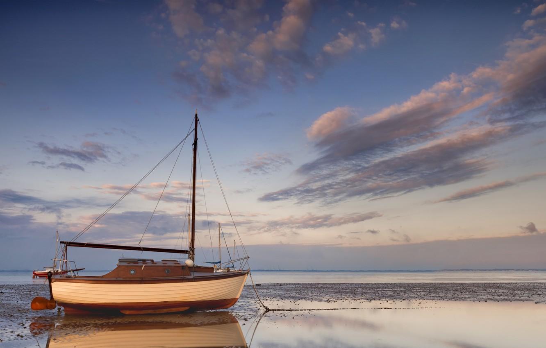 Photo wallpaper sea, ship, sailboat, dirt, stranded