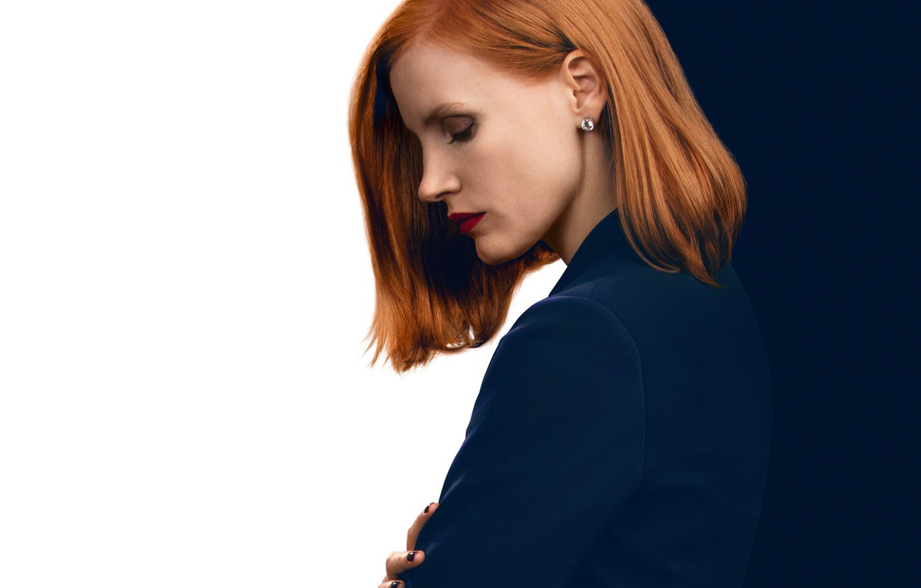 Photo wallpaper face, background, makeup, hairstyle, profile, Thriller, poster, redhead, drama, Jessica Chastain, Jessica Chastain, Miss Sloan, …