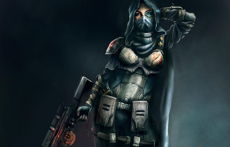 Photo wallpaper girl, weapons, art, hood, armor, sniper, cloak, rifle, cross
