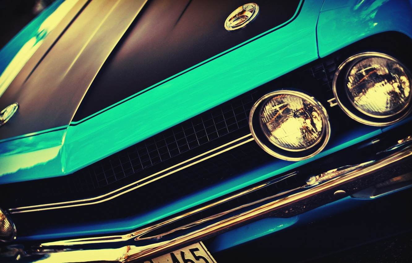 Photo wallpaper machine, auto, lights, before, Challenger, car, vintage, blue, vintage, front, blue cars, outdoors, headlights, American …