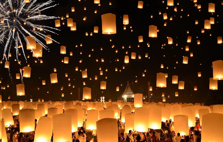 Wallpaper Thailand Loi Krathong Festival Floating Lanterns Images For Desktop Section Prazdniki Download