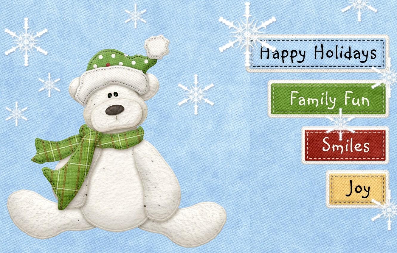 Photo wallpaper snowflakes, smile, labels, holiday, family, bear, fun