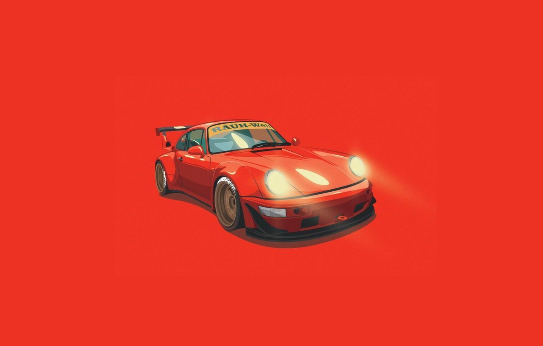 Photo wallpaper Porsche, Orange, Digital, Illustration, 993, RWB, Minimalistic