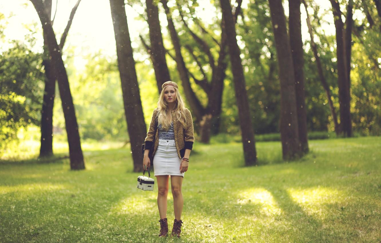 Photo wallpaper BLONDE, GIRL, LOOK, NATURE, TREES, PARK, MATTIE KRALL