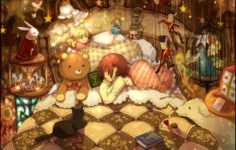 Photo wallpaper animals, toys, bed, pillow, boy, girl, books, a lot, sleep