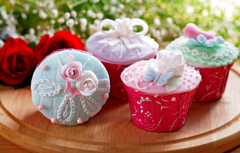 Photo wallpaper food, roses, bouquet, cake, rose, cake, cream, dessert, food, flowers, sweet, sweet, cupcake, cupcakes, cream, …
