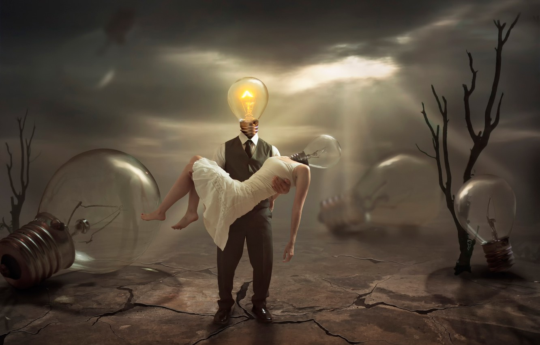 Photo wallpaper hopelessness, light, lamp, fantasy, sadness, despair, art, extinct, The Extinguished
