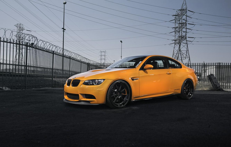 Photo wallpaper the sky, orange, black, bmw, BMW, drives, side view, orange, e92, power lines