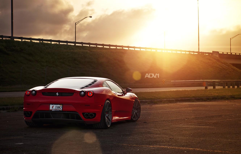 Photo wallpaper the sun, red, track, the evening, car, F430, Ferrari, red, Ferrara