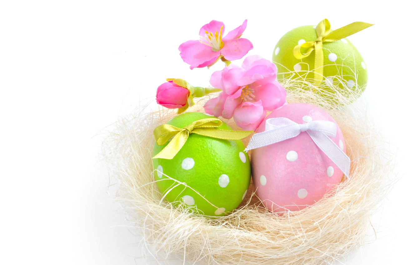 Photo wallpaper flowers, eggs, spring, Easter
